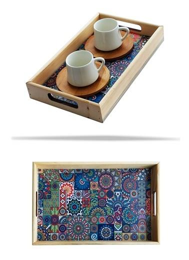 Kitchen Love Ahşap-Otantik-Çini Desenli  26X16Cm Servis Sunum Tepsisi Kahve